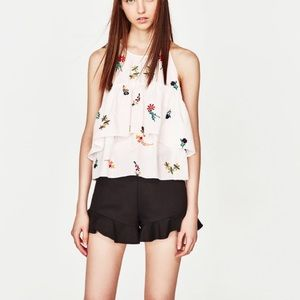 Zara Floral Embroidered Halter Neck Top in White